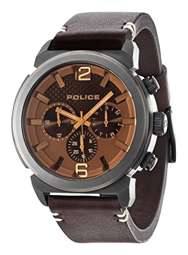 Police Burbank Herren Armbanduhr Analog Quarz Leder PL 94372AEU 12