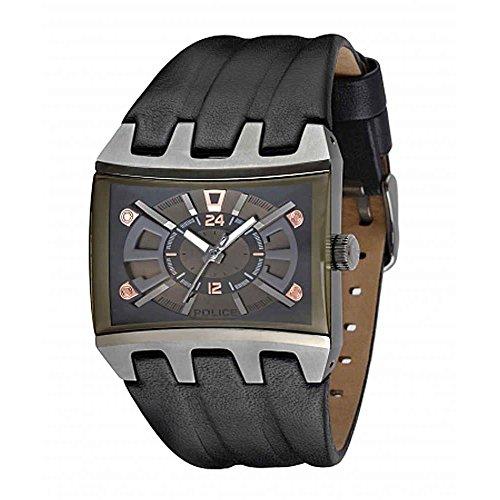 Police Herren Armbanduhr Armband Leder Schwarz Gehaeuse Edelstahl Batterie Analog 13420JSU 13