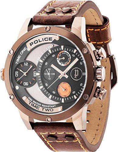 POLICE P14536JSBN 02 ADDER Uhr Herrenuhr Lederarmband Edelstahl 50m Analog Datum braun