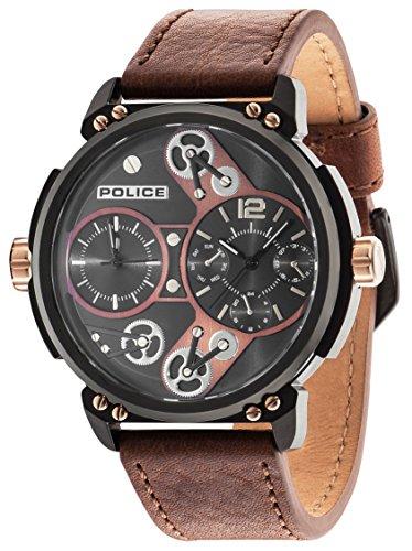 Police Herren Steampunk Quarz Uhr mit Braun Zifferblatt Analog Anzeige und braunem Lederband 14693jsb 12 A