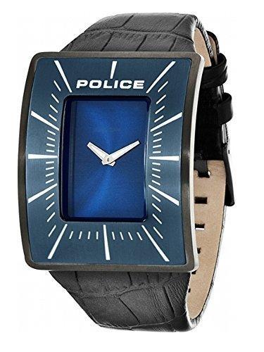 Police Herren Vantage PL 14004JSU 03 Armbanduhr mit Schwarz Leder Armband und Kobalt Blau Ziffernblatt