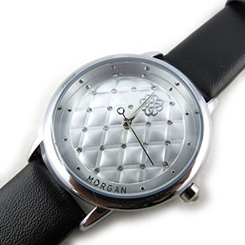 Armbanduhr french touch Morganschwarz silberfarben beleuchtung
