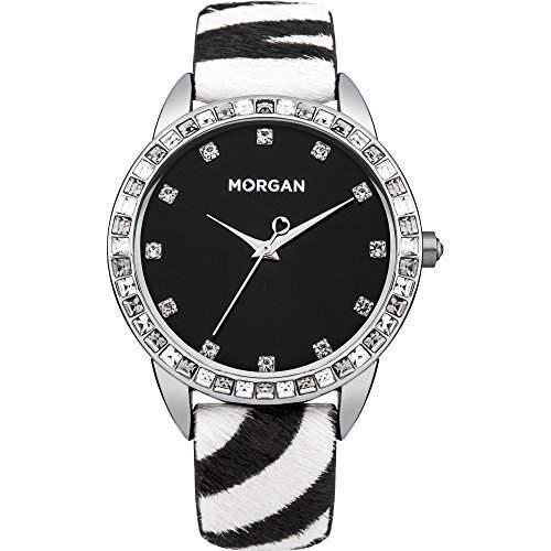 Damen Morgan De Toi Armbanduhr mit Zebra Uhrenarmband und Schwarzes Zifferblatt Mit Diamanten