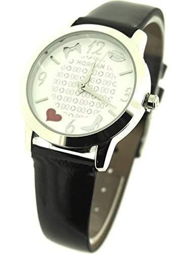 Morgan Uhr MAR1140B Schwarz PU Uhrenarmband Weisses Zifferblatt Waerme und Schleife Ziffernblatt