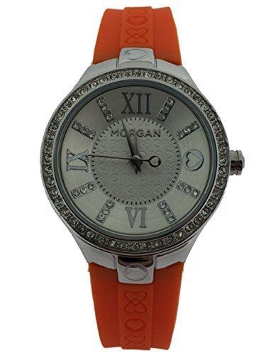 Damen Morgan De Toi M1138O Silikonarmband Uhr mit Edelstahl gehaeuse und strass steine around aussenseite