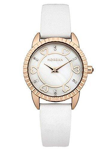 Morgan Damen M1185WG Rosegold Gehaeuse Weisses Leder Armband Uhr