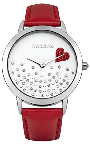 Morgan m1223r a Damen Armbanduhr Quarz Analog Weisses Ziffernblatt Armband Leder Rot