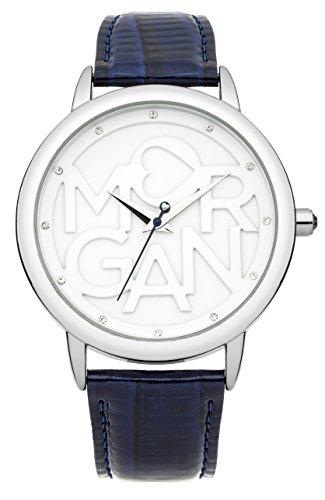 Morgan m1234u Damen Armbanduhr Quarz Analog Weisses Ziffernblatt Armband Leder Blau