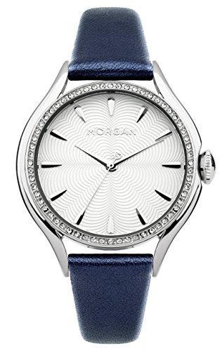 Morgan m1235u 045J699 Analog silber Armband Leder Blau