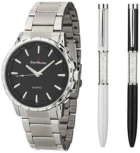 Gino Milano mwf14 052 Armbanduhr Quarz Analog Zifferblatt schwarz Armband Metall Schwarz