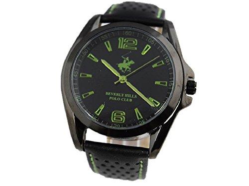 Beverly Hills Polo Club Herren Armbanduhr Uhr Leder schwarz gruen Quarz