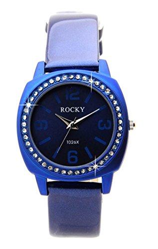 48 Diamanten CZ Leder blau Rocky 1544