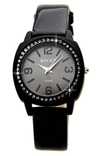Damen mit Armbanduhr 48 Diamanten CZ Leder schwarz Rocky 1564
