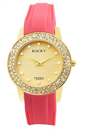 Silikon rosa Koralle Rocky mit 120 Diamanten CZ 1402