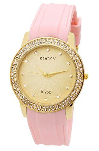 Damen Armbanduhr Silikon rosa Rocky 120 Diamanten CZ 573