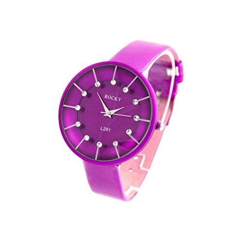 Damen fanataisie Armbanduhr Leder Violett Rocky 201
