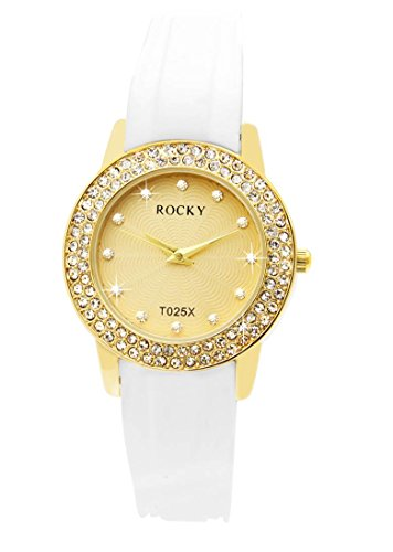 Damen Fantasie Armbanduhr Silikon Weiss Rocky 120 Diamanten CZ 1374