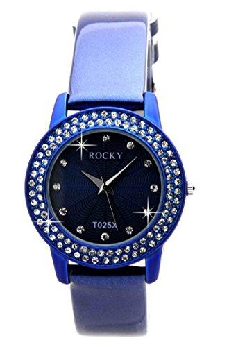 Zeigt Damen mit 100 Diamanten CZ Leder blau Rocky 2059