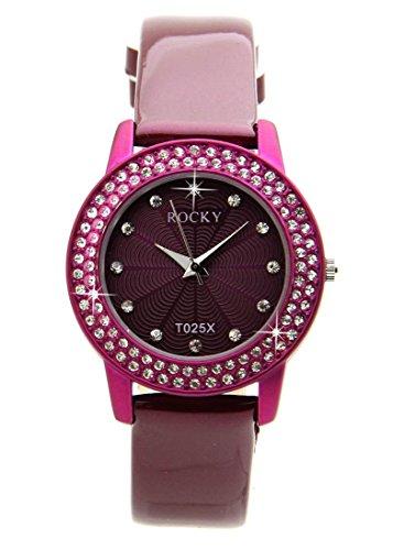 Zeigt Damen mit 100 Diamanten CZ Leder Violett Rocky 2105