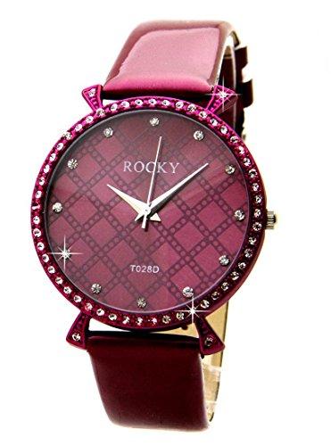 Zeigt Damen 65 Diamanten CZ Leder Violett Rocky 1901