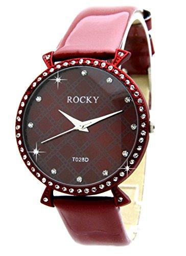 Zeigt Frau und 65 Diamanten CZ Leder rot Rocky 1940