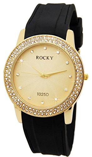 Zeigt nicht teuer Damen Silikon Schwarz Rocky 120 Diamanten CZ 559
