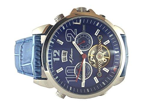 M Johansson Herren Automatik Armband Uhr LatosLSBL blau Edelstahlgehaeuse Lederband