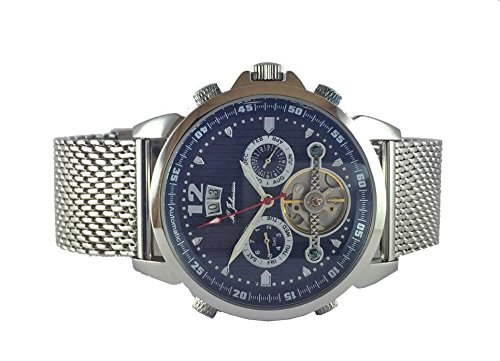 M Johansson Herren Edelstahl Armband Automatik Uhr Blau LunusSSBL
