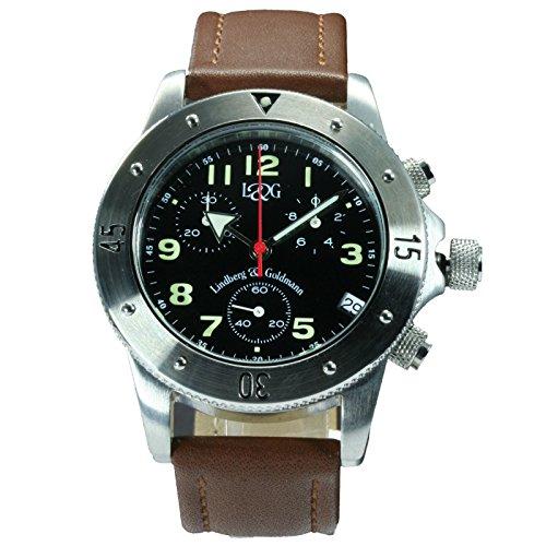 Berlin Leather von Lindberg Goldmann Damenarmbanduhr Armbanduhr mit braunem Lederarmband made in Germany