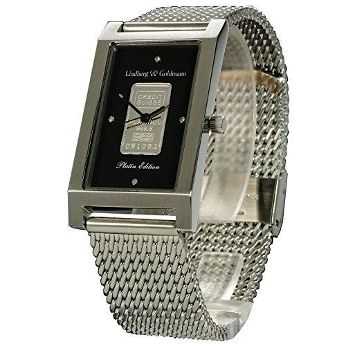 Herrenarmbanduhr Armbanduhr Herrenuhr Lindberg Goldmann Platinbar Milanese mit massivem Platinbarren der Credit Suisse 999 5 und 4 echten Diamanten