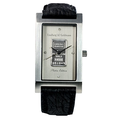 Herrenarmbanduhr Armbanduhr Lindberg Goldmann Platin bar mit massivem Platinbarren der Credit Suisse 999 5 und 4 echten Diamanten