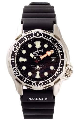 Chris Benz Deep 500m Automatik BLACK Armbanduhr fuer Ihn Taucheruhr