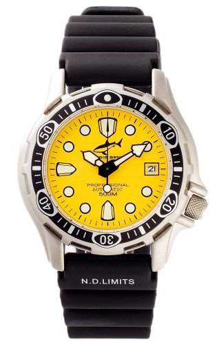 Chris Benz Deep 500m Automatik YELLOW Armbanduhr fuer Ihn Taucheruhr