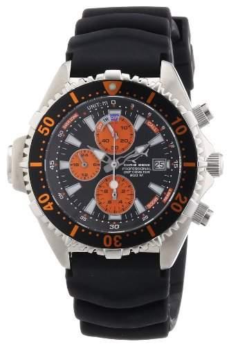 Chris Benz Unisex-Armbanduhr Chronograph Kautschuk CB-C-ORANGE-KB