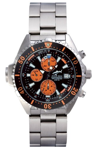 Chris Benz Depthmeter Chronograph 200m Orange MB Chronograph fuer Ihn Tiefenmesser