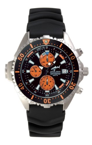 Chris Benz Depthmeter Chronograph 200m Orange KB Chronograph fuer Ihn Tiefenmesser