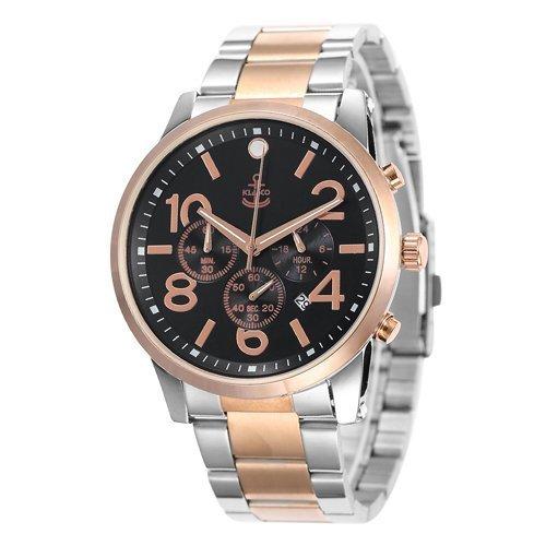klasco Herren Armbanduhr Quarz Handgelenk business casual Edelstahl Gold und Silber Band