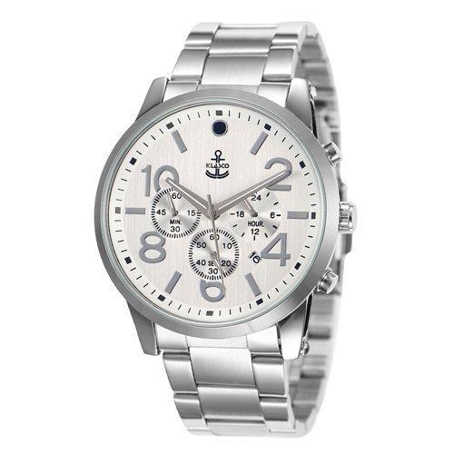 klasco Herren Armbanduhr Quarz Handgelenk business casual Edelstahl Farbe Silber