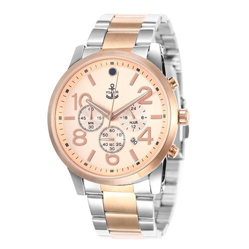 klasco Herren Quarz Armbanduhr Business Luxus Edelstahl Gold und Silber Band