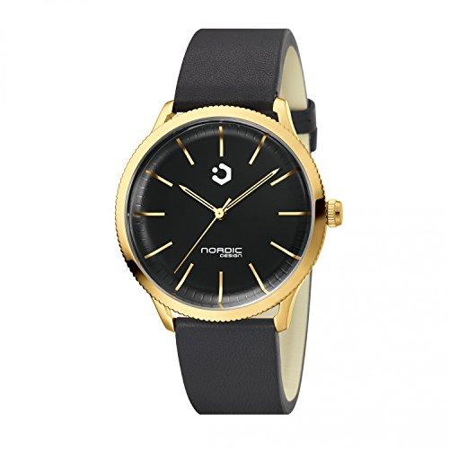 NORDIC DESIGN HAMAR III Unisex gold Edelstahl schwarz Armband Echtleder schwarz 20mm