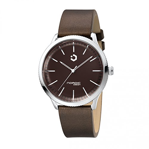 NORDIC DESIGN HAMAR I Armband Echtleder dunkelbraun Farbe Edelstahl Silber Breite Armband 20 mm