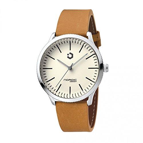 NORDIC DESIGN HAMAR IV Armband Echtleder hellbraun Farbe Edelstahl Silber Breite Armband 20 mm