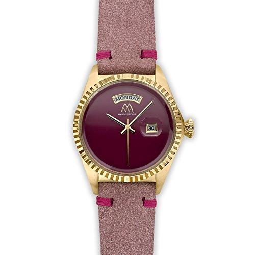 Watch Marco Mavilla Vintage Gold Enamel Shiny Bordeau Suede Strap Pink