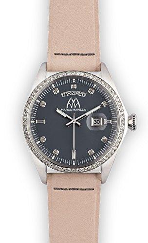 Watch Marco Mavilla Vintage Silver Swarovski Crystals Enamel Grey Leather Strap Pink
