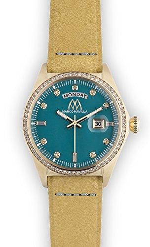 Watch Marco Mavilla Vintage Gold Swarovski Crystals Enamel Teal Leather Strap Beige