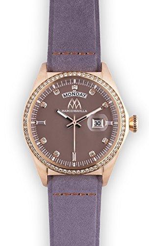 Watch Marco Mavilla Vintage Rose Gold Swarovski Crystals Enamel Cognac Leather Strap Violet