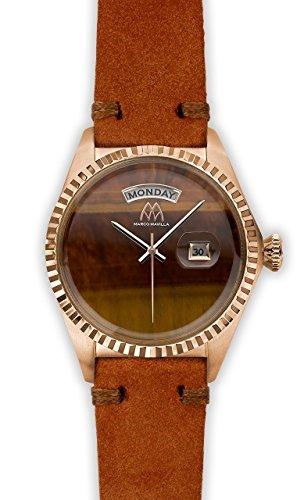 Watch Marco Mavilla Vintage Rose Gold Stone Tiger Eye Suede Strap Brick