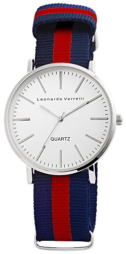 Metall silber Stoff Quarz Damenuhr Armbanduhr Uhr Herren Damen Stoffband Leonardo Varelli 2848