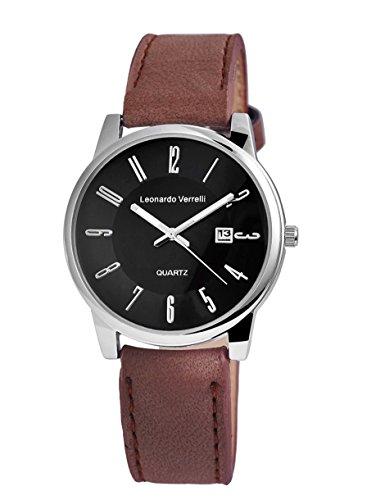 Damen Herren Elegante Unisex Armbanduhr silber mit braunem Leder Optik Armband