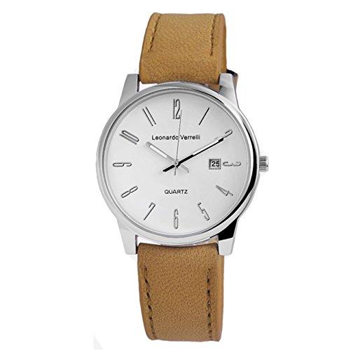 Damen Herren Elegante Unisex Armbanduhr silber mit hell braunem Leder Optik Armband